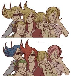 one piece. vinsmoke. family  tbh i prefer the all blonde kids, but i suppose the colors make sense.