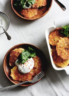 Chickpea Pancakes with Leeks, Squash, and Yogurt // From the Land we Live on