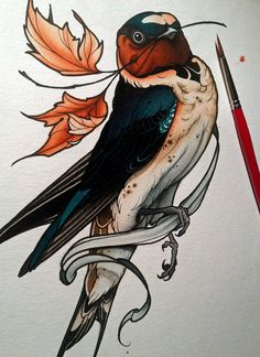 A new modern spin on the swallow tattoo. Not traditional, but the color is beautiful. Captures the delicate variations of the barn swallow's palate. Tattoo Design Drawings, Tattoo Sketches, Drawing Sketches, Tattoo Designs, Bird Drawings, Drawing Art, Bild Tattoos, Neue Tattoos, Barn Swallow Tattoo