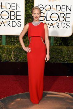 Jennifer Lawrence de Dior en los Globos de Oro 2016.