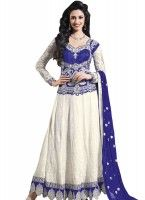 Trendy Look Off White/Royal Blue Anarkali Suit
