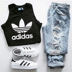 teen girlsschool outfit with ripped skinny jeans, white crop top, baby pink sneakers and bomber jacketImage source