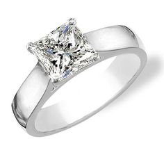 3 band engagement ring | Princess cut diamond solitaire ring in platinum. Diamond color is