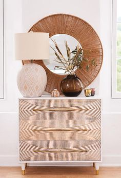 How Japanese Interior Layout Could Boost Your Dwelling Carved Thalia Three-Drawer Dresser Living Room Lighting, Living Room Decor, Bedroom Decor, Three Drawer Dresser, Dresser Drawers, Hippie Stil, Table Lamps For Bedroom, Interior Decorating, Interior Design