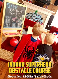 INDOOR SUPERHERO OBSTACLE COURSE - gross motor skills on a rainy day, challenge your caped crusaders to figure out how to use their assigned powers to save their stuffed animal city Superhero Games For Kids, Superhero Preschool, Best Superhero, Games For Teens, Indoor Party Games, Kids Party Games, Gym Games, Funny Games, Star Citizen