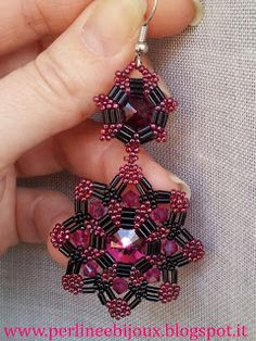 Beaded Earring Mandala 1 Perline e Bijoux: Orecchini   bugle, bicone  rivoli