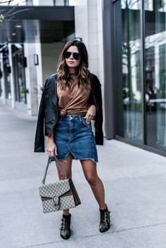 Denim skirt styled two ways! Love dressing up a denim skirt with heels and chic accessories, click to read the full article and shop the look! Outfit ideas for school, chloe studded ankle boots, outfit ideas, black zara ankle boots, necktie trend, streetstyle outfits