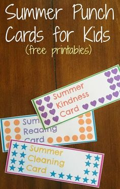 Summer Punch Cards for Kids with FREE Printables Looking for ways to keep kids busy this summer and on task with things like summer reading? Here's how summer punch cards for kids helped. Summer Fun For Kids, Summer Activities For Kids, Fun Activities, Crafts For Kids, Kids Summer Schedule, Kids Fun, Toddler Crafts, Toddler Activities, Summer Punch