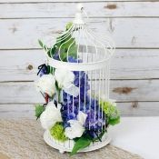 White Vogue Bird Cage with Floral Decoration