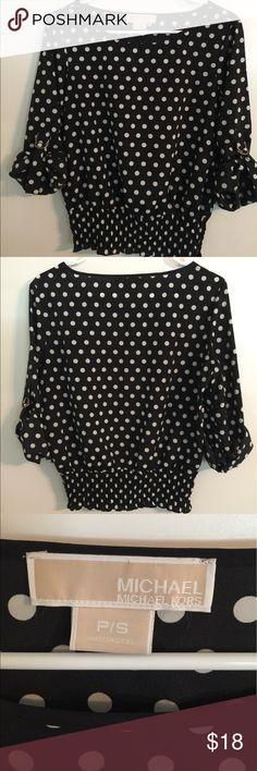 Michael Kors Black & White Polka Dot Blouse Great MK Blouse with elastic waist.  Great condition!! Michael Kors Tops Blouses