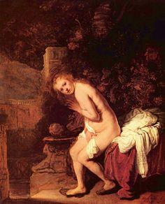 Susana es un personaje bíblico que es mucho más que un personaje bíblico. Es una mujer en un jardín. Desnuda y hermosa entre sus hermanas las plantas. Dos viejos jueces intentarán violarla. Supongo que pintarla les permitía pintar a una mujer desnuda, algo difícil según cuando. Yo me quedo con esta Susana, misteriosa y sin embargo cercana, humana, retratada en 1636 por Rembrandt, en el momento en el que acaba de darse cuenta de la presencia de los viejos a su espalda.