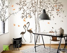 Baby room Nursery Tree vinyl wall decal  with Flamingos -   Vinyl Wall Sticker MM011