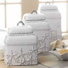 Amazon.com - Mud Pie- Starfish Canister Set - Kitchen Storage And Organization Product Sets