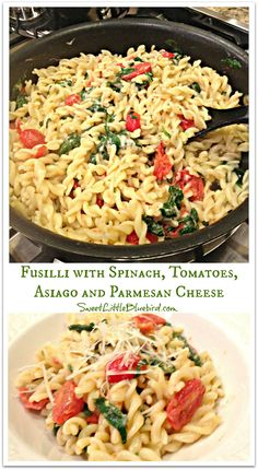 Fusilli pasta with Spinach, Tomatoes, Asiago and Parmesan Cheese (Chef Giada De Laurentiis recipe) -  Wonderful pasta dish that is light and delicious...simple to make too.  With over 380 reviews and a 5 star rating, this is a recipe I plan on making time and time again, my family loved it, including the kids!  | SweetLittleBluebird.com