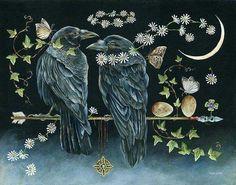 "Janie Olsen: ""Never Break the Chain"" Crow Art, Bird Art, Raven Bird, Raven Totem, Crows Ravens, Spirited Art, Animal Totems, Wildlife Art, Pet Birds"