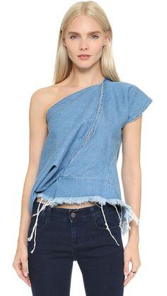 0dc915cd05 Marques Almeida One Shoulder Front Slit Denim Top Blue Short Sleeve Tops