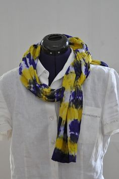 Silk Shabori Scarf - Hand Dyed Silk Scarf - Purple, Yellow - Silk Crepe de Chine - Gift for Her by WhatJennyMakes on Etsy Dyed Silk, White Silk, Purple Yellow, Silk Crepe, Pure Silk, Gifts For Her, Pure Products, Cotton, Etsy