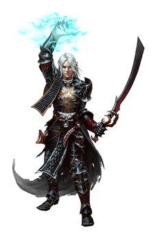 Male Half-Elf Shocking Grasp Magus - Pathfinder PFRPG DND D&D d20 fantasy