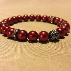 Red pearl bracelet, stretch bracelet, Christmas bracelet, holiday bracelet, wedding jewelry, bridesmaid jewelry.  Check out this item in my Etsy shop https://www.etsy.com/listing/207789469/red-pearl-bracelet-stretch-bracelet