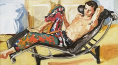 Sandra Fisher Tulio in Patterned Trousers 1992  oil on canvas, 20 x 35-3/4 inches  Private Collection (c) Estate of Sandra Fisher