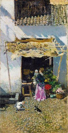 Marià Fortuny - Mujer joven en la falda lila delante de un puesto de verduras