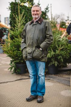 We spotted Roger in his Barbour Wax Jacket - one which he has had for over 15 years! Barbour Wax Jacket, Barbour Mens, Bomber Jacket, Festival Friends, Jacket Outfit, Tweed Run, Wax Jackets, Raining Cats And Dogs, Belstaff
