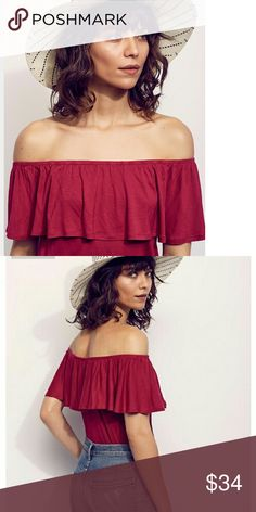 Free People Under The Boardwalk Top XS NWT Free People Under The Boardwalk Top Raspberry Color Size XS NWT, 100% Rayon, Machine Washable,  Sold Out, Super Easy Flirty Top In Off-The-Shoulder Silhouette With Flounce Overly & Elastic Bands At Bust & Waist Free People Tops