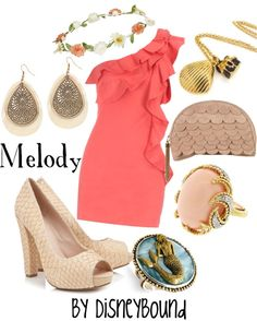 """Melody"" by lalakay ❤️ liked on Polyvore #disney #disneybound #disneystyle #disneyfashion #littlemermaid"