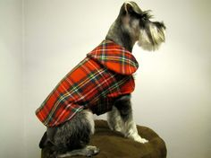 Red Tartan Plaid Flannel Dog Cape Coat Jacket by playfulpup