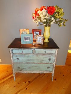 turquoise dresser redo. Our Night stands maybe?