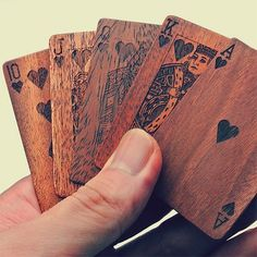 Engraved wood playing cards