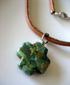 Mosaic Turquoise Cross Men's necklace