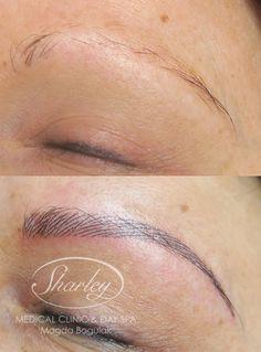Makijaż permanentny brwi - przed i po zabiegu.