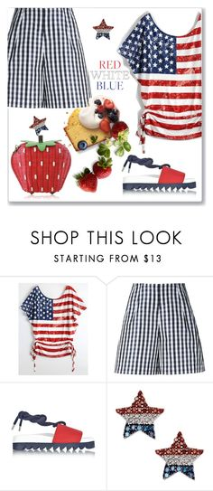 """""""Strawberry Fields in the USA"""" by interesting-times ❤ liked on Polyvore featuring Dice Kayek, Joshua's and fourthofjuly"""