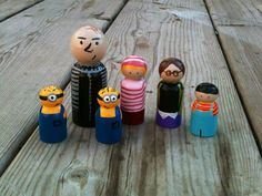 Dispicable me wood peg doll set by KrisTeenyTinys on Etsy, $30.00