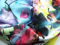 100% Silk 140cm x 40cm Scarves, Fish, Fruit, Scarfs, Pisces