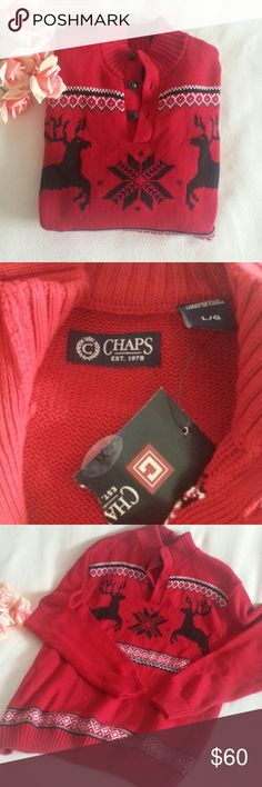 NWT Chaps Men Sweater Large Red Brand new with tag Large size 100% cotton  PRICE IS FIRM Chaps Sweaters Crewneck