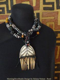 wearable art | Chiaroscuro necklace Art To Wear wearable art by MorningDoveDesign