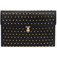 Alexander McQueen Black Nappa Leather Studded Skull Closure Envelope ($925) ❤ liked on Polyvore featuring bags, handbags, clutches, skull studded handbag, alexander mcqueen clutches, skull purse, alexander mcqueen handbags and studded purse