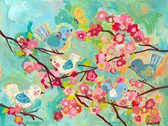 Cherry Blossom Birdies Canvas Reproduction