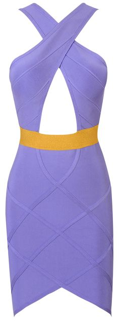 In love with this seasons new trend, cut outs! This dress is a Lilac color with a keyhole cut bust and lurex gold that accentuates your waist. Of course, made out of luxe bandage fabric.