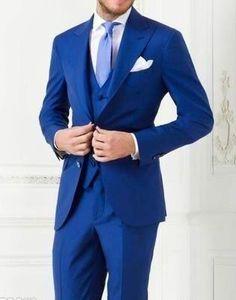 New Arrivals Two Buttons Royal Blue Groom Tuxedos Peak Lapel Groomsmen Best Man Suits Mens Wedding Suits Three PieceJacket+Pants+Vest+Tie Mens Tuxedo Trousers Mens Tuxedos Wedding Styles From Brucesuit, $140.21| Dhgate.Com