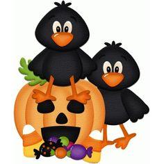Silhouette Design Store: crows with jackolantern halloween