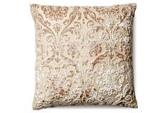 Damask 18x18 Silk Pillow, Natural | Trending Now | One Kings Lane