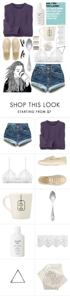 """I Will See You"" by ibavale14 ❤ liked on Polyvore featuring Levi's, Only Hearts, Superga, Versace, Fresh, Glenda López and Dot & Bo"