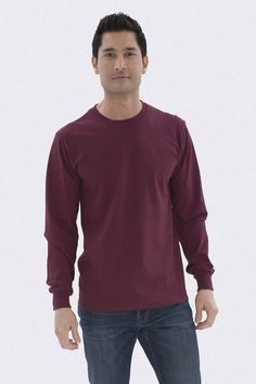 The Authentic T-Shirt Company Everyday Cotton Long Sleeve Tee T Shirt Company, Long Sleeve Tees, Stylish, Mens Tops, Cotton, Shirts, Fashion, Moda, Long Sleeved T Shirts