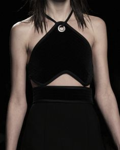 Chic black halter neck dress with eyelet, fashion details // Alexander Wang Fall 2015