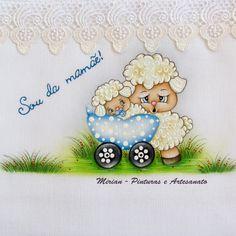 Fralda Passeio - 70 x 70 cm - Fralda Cremer Pinte & Borde / Pintura à mão. * Ovelhinha Baby *