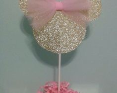 Minnie Mouse Centerpiece Pink and Gold by YellowFieldsDesigns