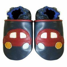 Dotty Fish - Chaussures de bébé en cuir souple Motif de voiture couleur marine Dotty Fish.